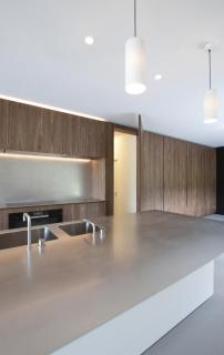 Keuken ingewerkte deur notenfineer